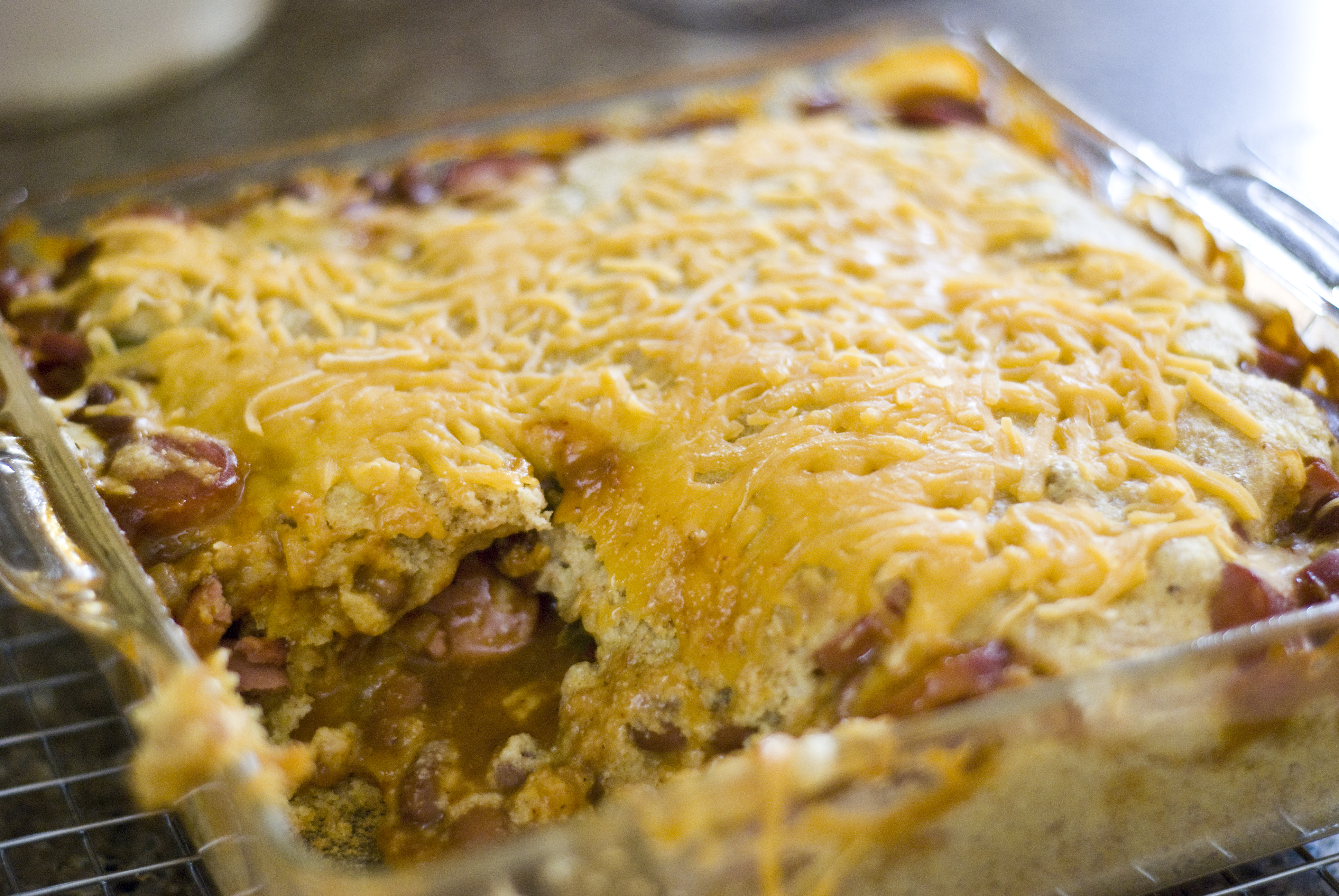 Chili Cheese Corn Dog Casserole