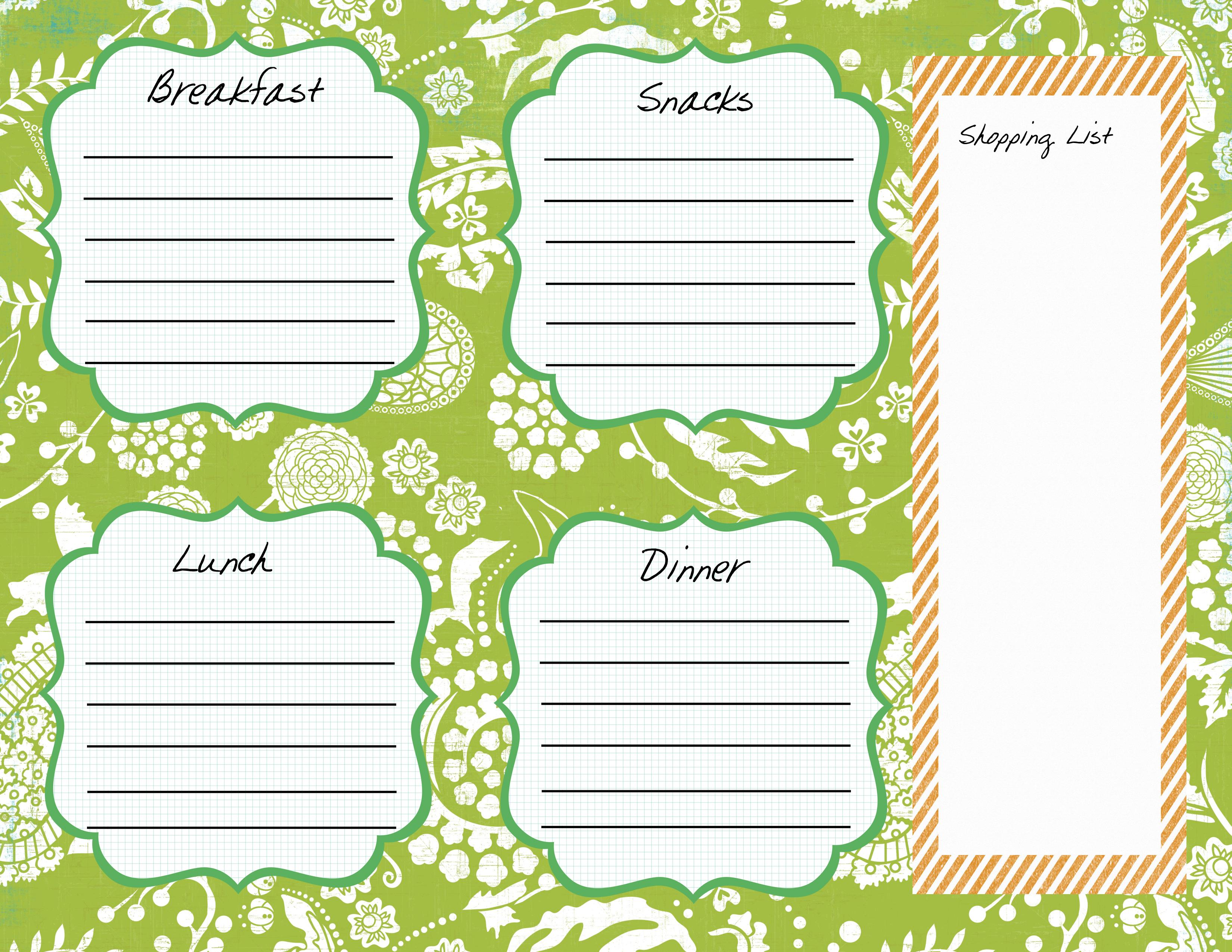 My Meal Plan Worksheet – Meal Plan Worksheet