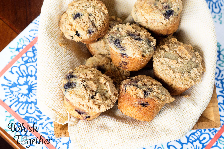 Whole Wheat Blueberry Crumb Muffins